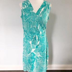 Talbots Sleeveless Green Teal Wrap Dress 1X Petite
